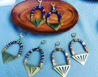 Boho Colorful Cord and Brass Chevron Hoop Earrings - Turquoise - Woven - Triangle - Cut-out - Choose from Tan Navy or Black & White Designs