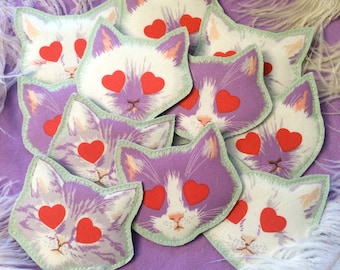 Kitty Cat Face Fabric Badge Pin in Purple and White (you choose)
