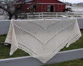 Alpaca Shawl, Hand Knit White Wool Wrap, Triangle Scarf, Alpaca Wrap for Women, Bridal Shawl