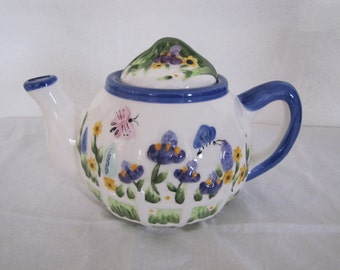 Teapot Flower Garden Butterfly Blue Trim by ACK TRADING