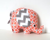 Spring Colors Gray and Coral Baby Girl Gift Stuffed Elephant Plush Softie