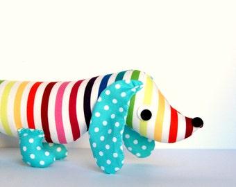 Rainbow Wiener Dog Softie for Kids Toy Stuffed Dachshund PIP