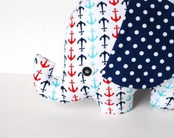 Navy Red and White Nautical Baby Gift  Stuffed Elephant Plush Softie Nautical Nursery Decor