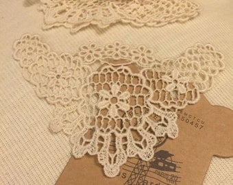 Lace Crochet  Applique Set Of Two