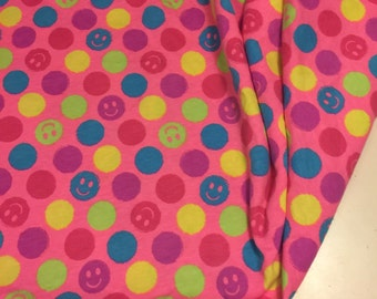 Happy Face Print Cotton Knit  Fabric 1 Yard