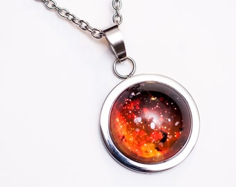 Nebula no. 01 High Dome Stainless Steel Necklace, Space Jewelry, Space Necklace, Wearable Art, Nebula Necklace, Nebula Jewelry