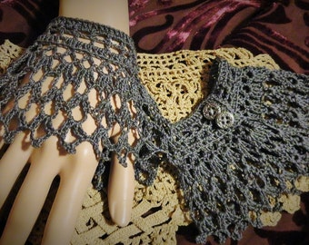 Large Gray Victorian Steampunk Victorian Noir Mourning Gothic Crochet Wristlets