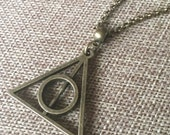 Deathly Hallows Necklace in Bronze/ Triangle Necklace on Rolo Chain / Triangle Pendant / Geometric Jewelry / Harry Potter Necklace
