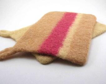Wool felted potholders - felted hot pads - striped potholder set - apricot, butter yellow and papaya