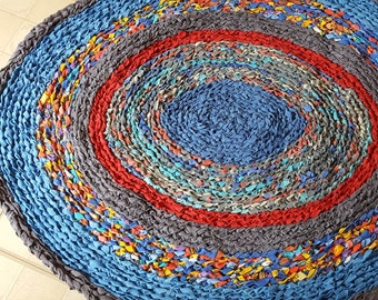 """36""""-44"""" Oval Rag Rug Round Blue Red Purple Eco Friendly Upcycled Material"""