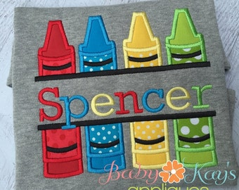 Split Crayons Applique Design 4x4, 5x7, 6x10, 8x8