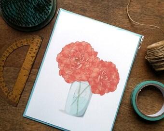 Peony ball jar bouquet--Summer Card: Single Card or Boxed Set