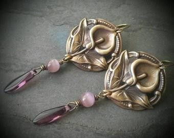 Boho Flower Earrings, Canna Lilly, Purple, Oxidized Brass, Gypsy Boho, Nature Inspired, Floral, Beaded Earrings