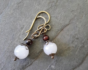 White Jade Earrings, Ruby Earrings, Rustic Jewelry, Spiritual, Earthy, Natural Brass Jewelry, Ruby Birthstone, Jade Jewellery