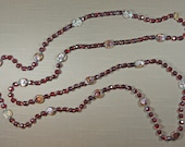 """RUBY RED Glass Super Long Necklace Beads Flapper Length Vintage 82"""" Double Triple 1714"""