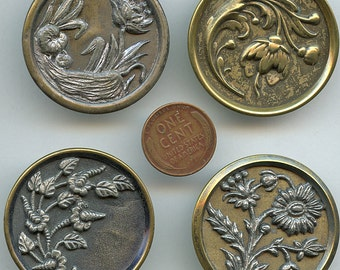 "HUGE Victorian Metal FLORAL Buttons (4) Coordinating Lot Antique Picture Large Flowers 1  1/2""  inch size 2393"