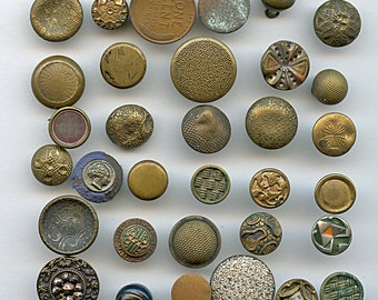 Victorian Metal Buttons Lot of (31) Small Antique CRAFTERS LOT As Found 1596