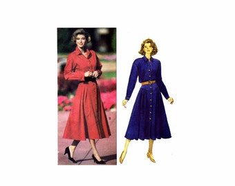 Ronnie Heller Dress Shirtdress Butterick 6312 Vintage Sewing Pattern Size 6 - 8 - 10 - or Size 12 - 14 - 16 Uncut