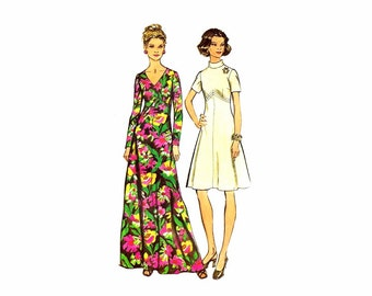 1970s High Waist Dress Simplicity 5850 Vintage Sewing Pattern Size 10 Bust 32 1/2