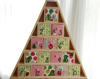 Christmas Tree Advent Calendar, Wooden Drawers, Giant Polka Dots and Subway Art, Santa Hat, Holiday Decor, Ready to Ship