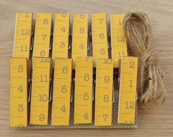 Watch Me Grow Measuring Tape Ruler Chunky Little Clothespin Clips w Twine -  Set of 12