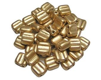 Czech Tile Beads 6mm Matte Flax Gold 2 Hole Groovy Tile Beads 40pcs (3662) 6mm Tile Beads || Czech Glass Beads
