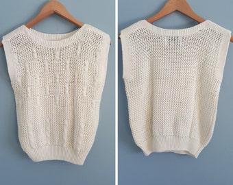Vintage 70s/80s White Bow Sweater Vest S M