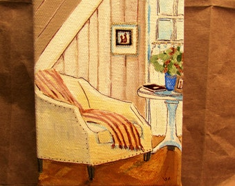 original painting still life with chair 4x6