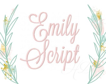 """6 sizes Embroidery Font Package Emily 1"""", 2"""", 3"""", 4"""", 5"""", 6"""" Inch Satin Stitch Vine Monogram Sale Embroidery Font BX Instant download PES"""