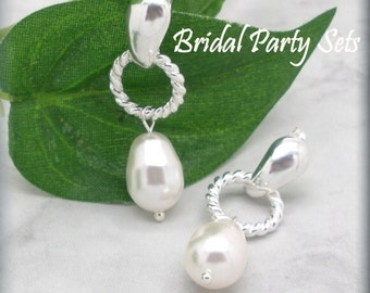 Bridesmaid Earrings,  Bridesmaid Gift, Bridesmaid Jewelry, Wedding Jewelry, White Pearl Earrings, Stud Earrings, Sterling Silver (SE640)