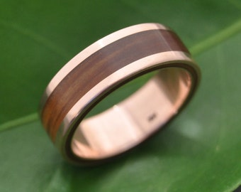 Size 8.25, 7mm READY TO SHIP Rose Gold Wood Ring Lados Guayacán - wood wedding band, 14k recycled rose gold wood wedding ring, red gold ring