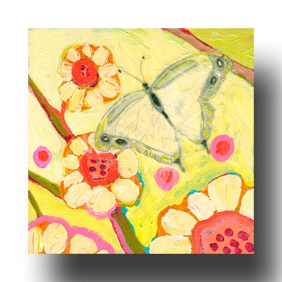 The NeverEnding Story No 49 (butterfly) - ORIGINAL Painting on 6x6 Wood Block by JENLO