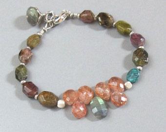 Tourmaline Sunstone Labradorite Bracelet Turquoise Gemstone Sterling Silver Bead DJStrang Boho Cottage Chic