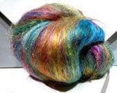 "fiber art batt, felting wool, Roving, ""Indian Wedding Dress"" PHAT FIBER teal, turquoise, orange, fuschia, gold, chartreuse, spinning fiber"