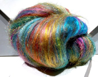 "fiber art batt, felting wool, Roving, ""Indian Wedding Dress"" PHAT FIBER teal, turquoise, orange, fuschia, gold, chartreuse, spinning fiber"