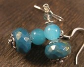 SALE Turquoise rondelle, aqua glass beads and silver handmade earrings