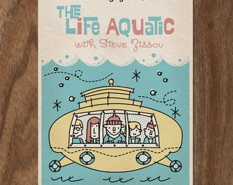 THE LIFE AQUATIC with Steve Zissou 16x12 Mid Century Movie Poster Print