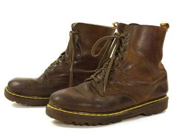 90s Dr Marten 8-Eye Lace Up Ankle Boots Made in England / Brown Leather Docs Punk Rocker Combat Boots / UK Size 6 / US Women's Size 8 or 8.5