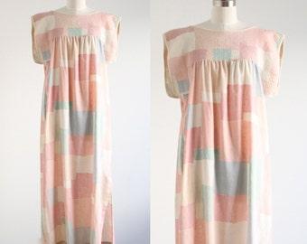 Vintage Pastel Color Block Maxi Dress
