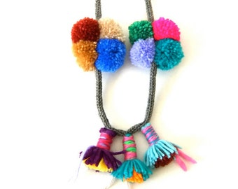 pompons necklace , jewellery , one of a kind, wool , for her , handmade , eco-friendly ,gift ,playful , tribal