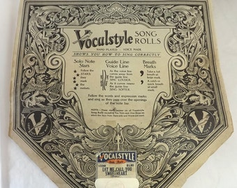 1920 Vocalstyle Piano Roll, Let Me Call You Sweetheart, Vintage No. 12280 Waltz, Collectible Sheet Music Roll