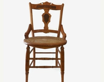 Victorian Caned Side Chair, Ornate Inlaid Wood Back