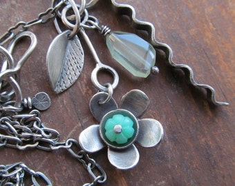 LONG Silver Charm Necklace Cluster Flower Green Chrysoprase Gemstone long Chain Necklace