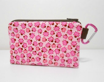 Ladybug Coin Purse, Small Carabiner Clip, Pink Zipper Pouch, Pink and Brown, Ladybug Accessory