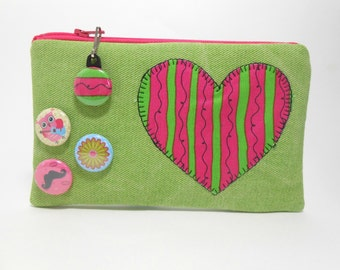 Heart Coin Purse, Heart Zipper Pouch with Pin back Buttons and Zipper Pull, Lime Green Padded Zipper Pouch