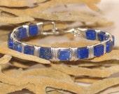 Lapis Lazuli & Sterling Cuff Bracelet