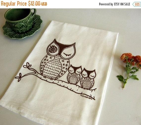 Dish Towel Sale: ON SALE Owls Dish Towel Owl Family Cotton Flour By