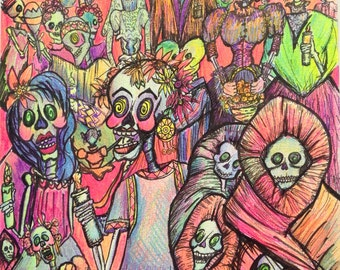 Day of the Dead Procession Black Light Reactive Poster 11x17 Original Illustration by Candace Byington