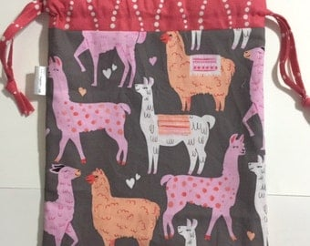 The Herd's All Here Drawstring Project Bag (Grey, Pink, Coral)