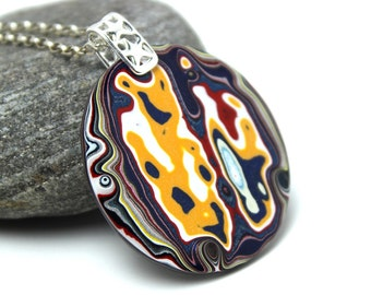 Detroit Fordite Necklace Recycled Vintage Auto Paint Taxi Yellow Blue Metallic Silver Round Medallion Sterling Black White Drop HUGE OOAK